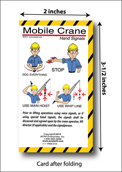 Mobile Crane Hand Signals Folding Cards (package of 25) OSHA Crane Hand Signals, pocket cards, hand signal cards